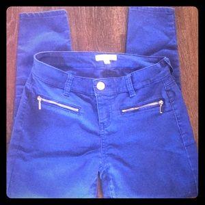 Denim - Royal Blue zipper pocket skinny jeans